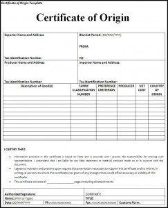 Certificate Of Origin Template