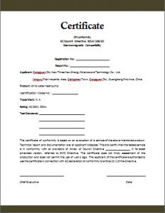 Confirmity Certificate Template