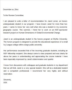 Sample Letter Of Recommendation For Graduate School Free