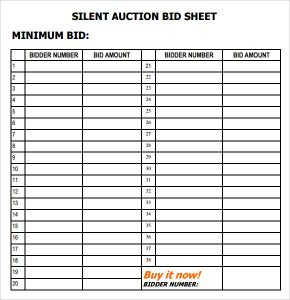 silent auction bid sheet template free word templates. Black Bedroom Furniture Sets. Home Design Ideas