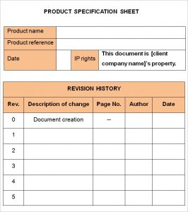 Specification Sheet Templates