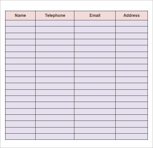 Contact List Template  Contacts List Template