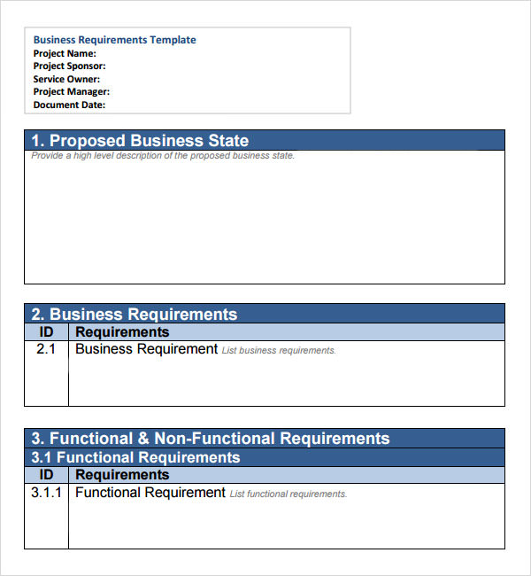 sample business requirements document application development