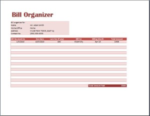 Bill Organizer Template