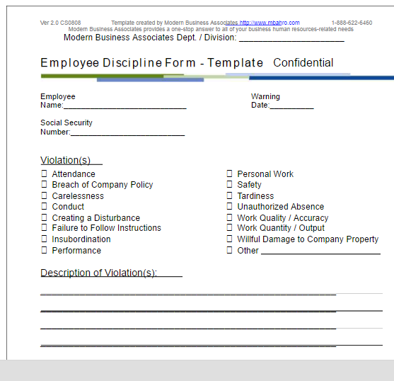 Employee Write Up Form  Employee Forms Templates