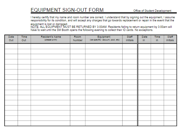 Equipment Sign Out Sheet – Sign out Sheet Template Word