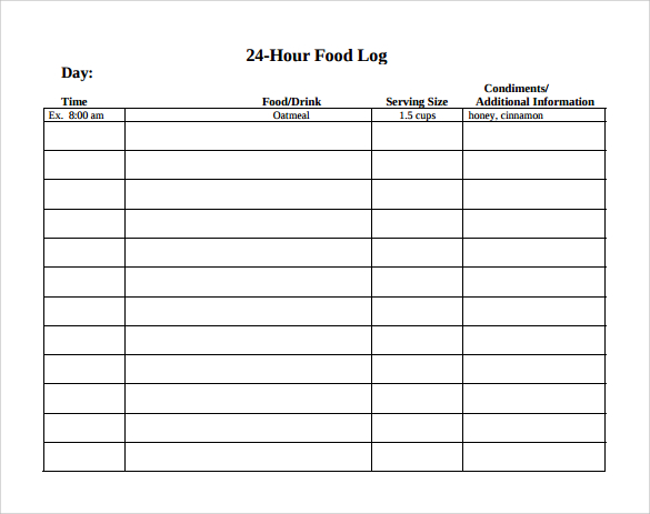 Food Diary Template  Daily Diary Template
