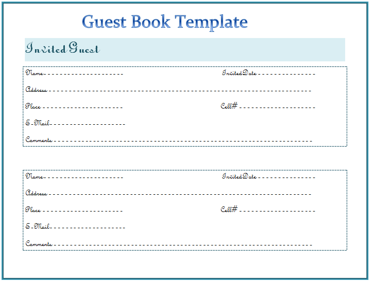 Guest book template free word templates for Visitors book template free download