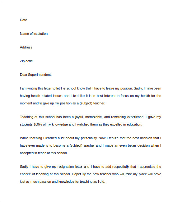 resignation letter teacher informatin for