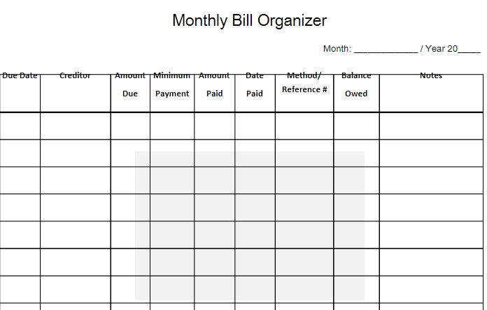monthly bill organizer