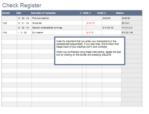 Printable Check Register