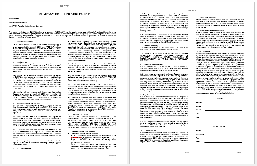 Private label agreement template free word templates for Manufacturers rep agreement template