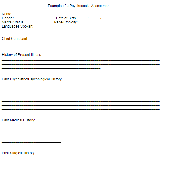 Psychosocial Assessment Template