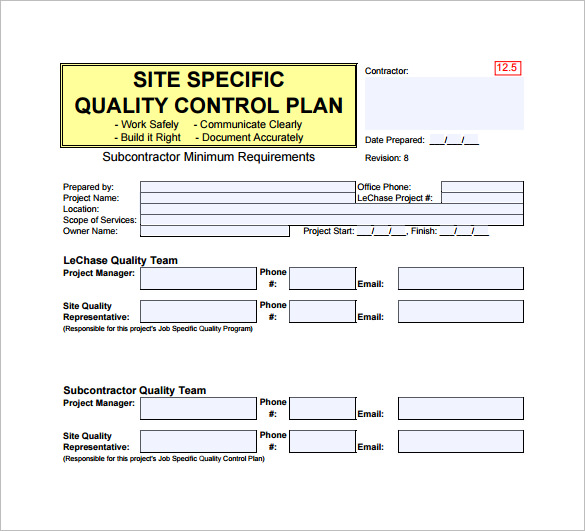 Quality Control Plan Template Free Word Templates
