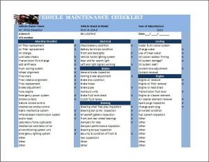 Vehicle-maintenance-checklist