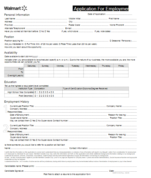 Walmart Application PDF