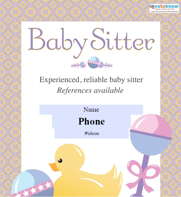 Babysitting Flyers Template Free Word Templates