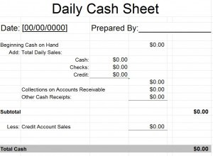 Daily Cash Sheet Template | Free Word Templates