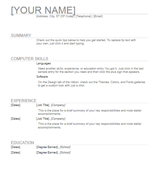 General Resume Templates General Resume Template Free Word Templates