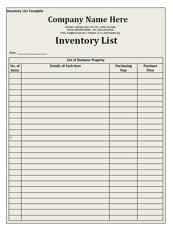 Inventory List Template Free Word Templates