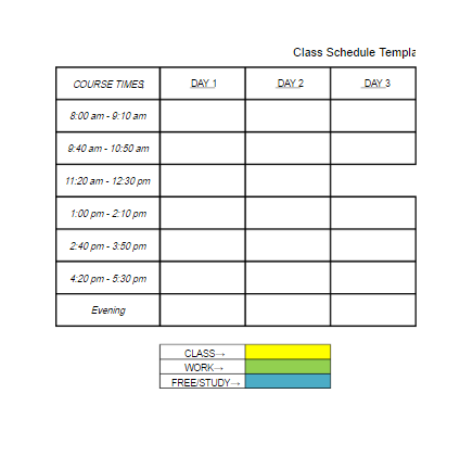 class schedule template free word templates