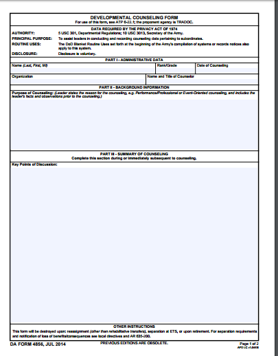 Da Form 4856 Free Word Templates