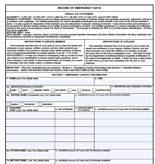 Dd Form 93 Free Word Templates