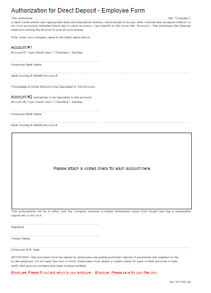 Direct deposit form template free word templates for Direct deposit forms for employees template