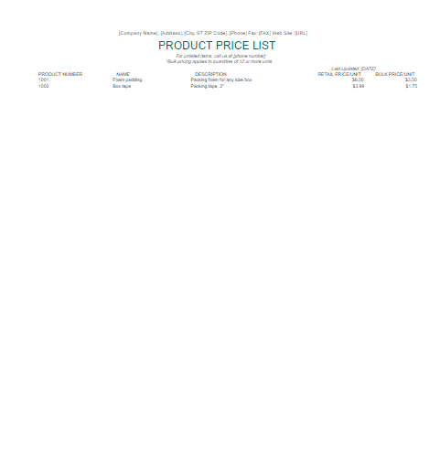 List Templates – Price List Template Word