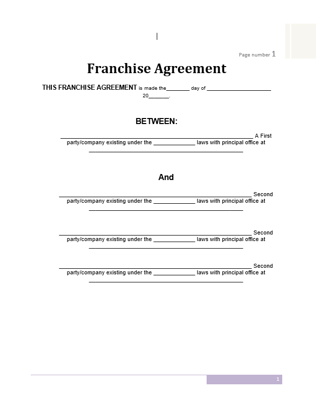 franchise agreement template free word templates. Black Bedroom Furniture Sets. Home Design Ideas