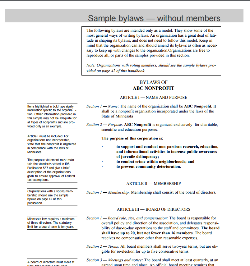 Non profit bylaws template free word templates for Non profit bylaws template free