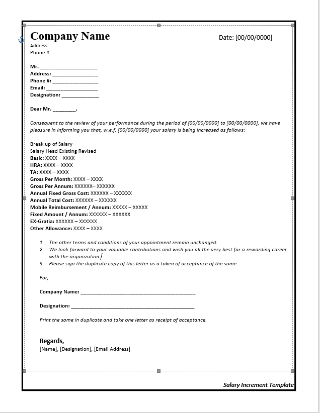 Salary Increase Letter Template From Employer To Employee