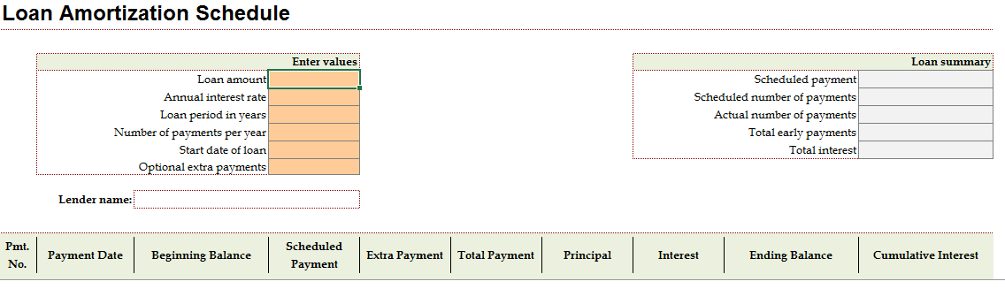 Amortization Schedule Excel