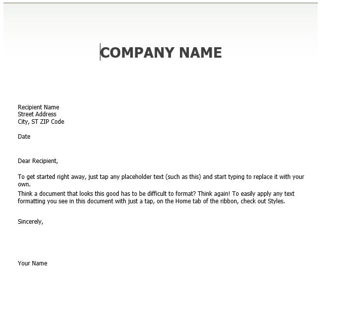 word company letterhead