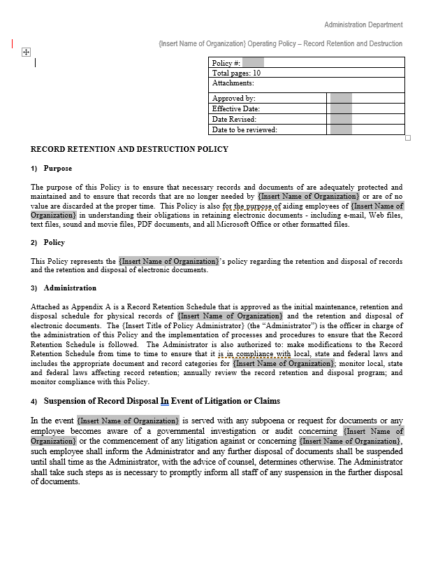 Document retention policy template free word templates for Student retention plan template