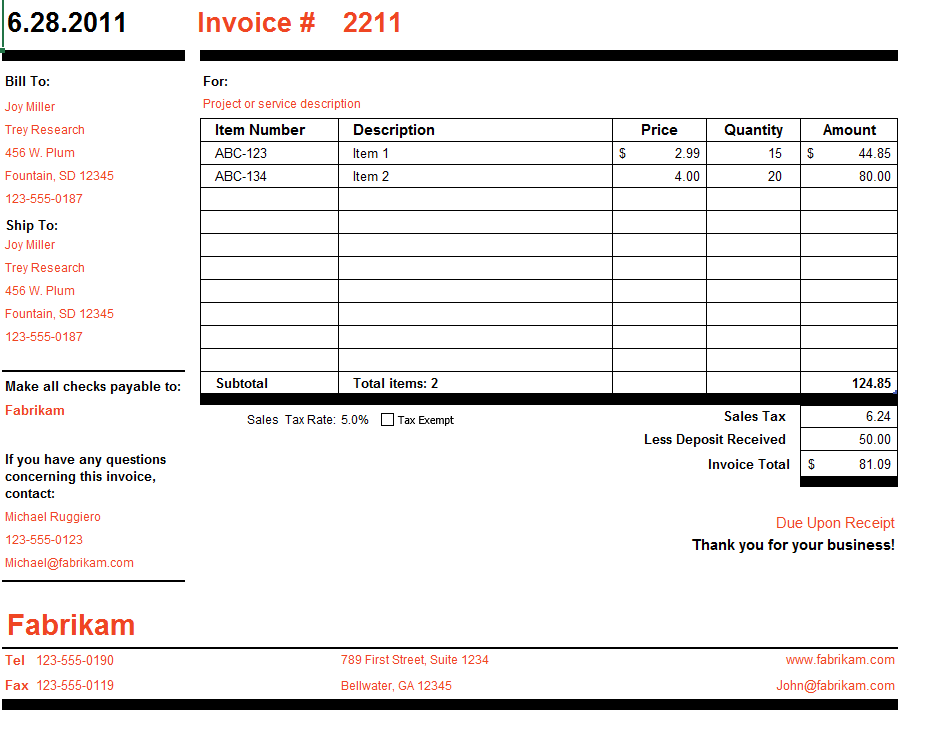 Microsoft Invoice Template Free Word Templates