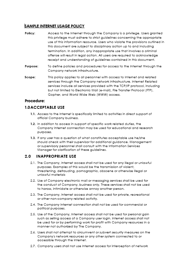 Network security policy template free word templates for Computer security policy template