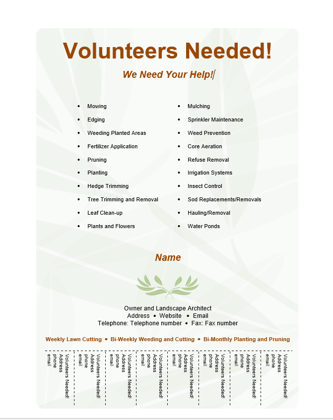Volunteer Flyer Template Free Word Templates - Volunteer flyer template
