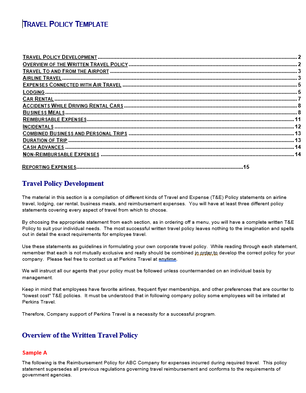Travel policy template free word templates travel policy template flashek Choice Image