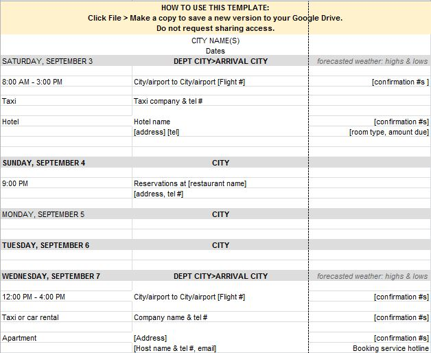 Itinerary Template Free Word Templates