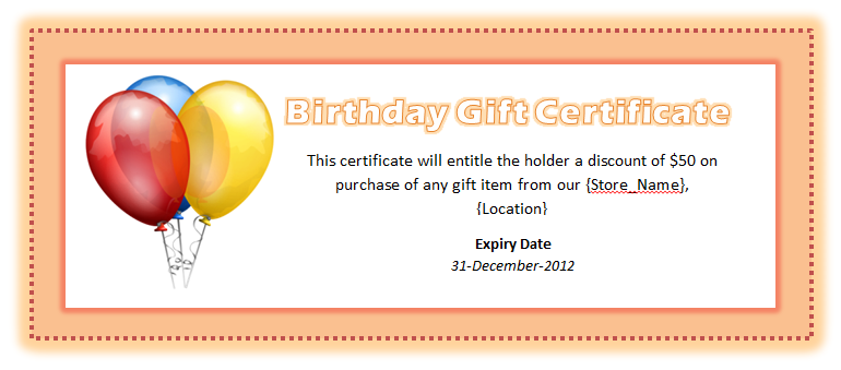 Birthday Voucher Template | Free Word Templates