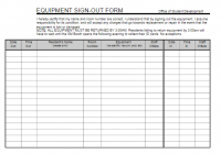 Equipment Sign Out Sheet