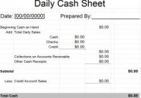 daily cash sheet template