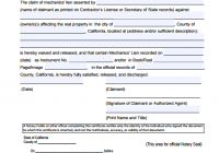 Mechanics Lien Form